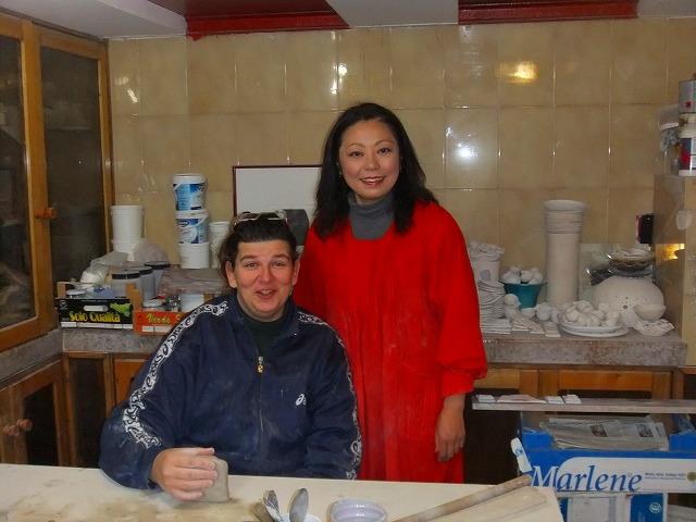 シチリアの本格工房にて陶器教室