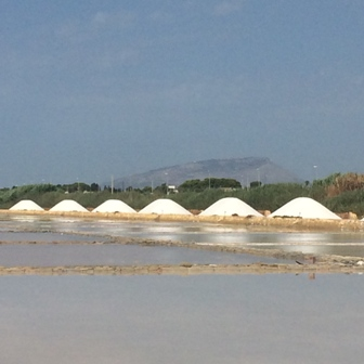 天日採塩法が使われているトラパニの塩田